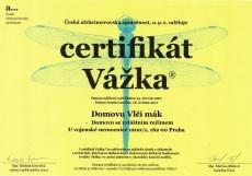 Domov se zvláštním režimem - držitel certifikátu Vážka